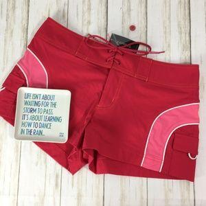 Express Stretch Shorts Hot Pink Stripe Nylon 7/8